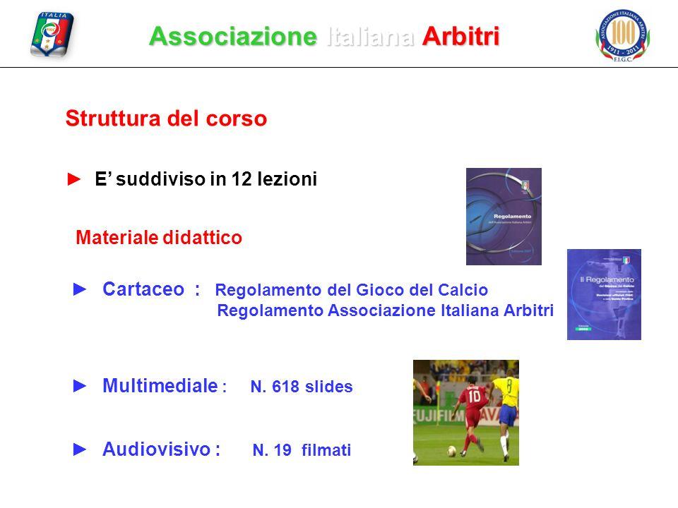 Associazione Italiana Arbitri Struttura del corso E suddiviso in 12 lezioni Cartaceo : Regolamento del Gioco del Calcio Regolamento Associazione Itali