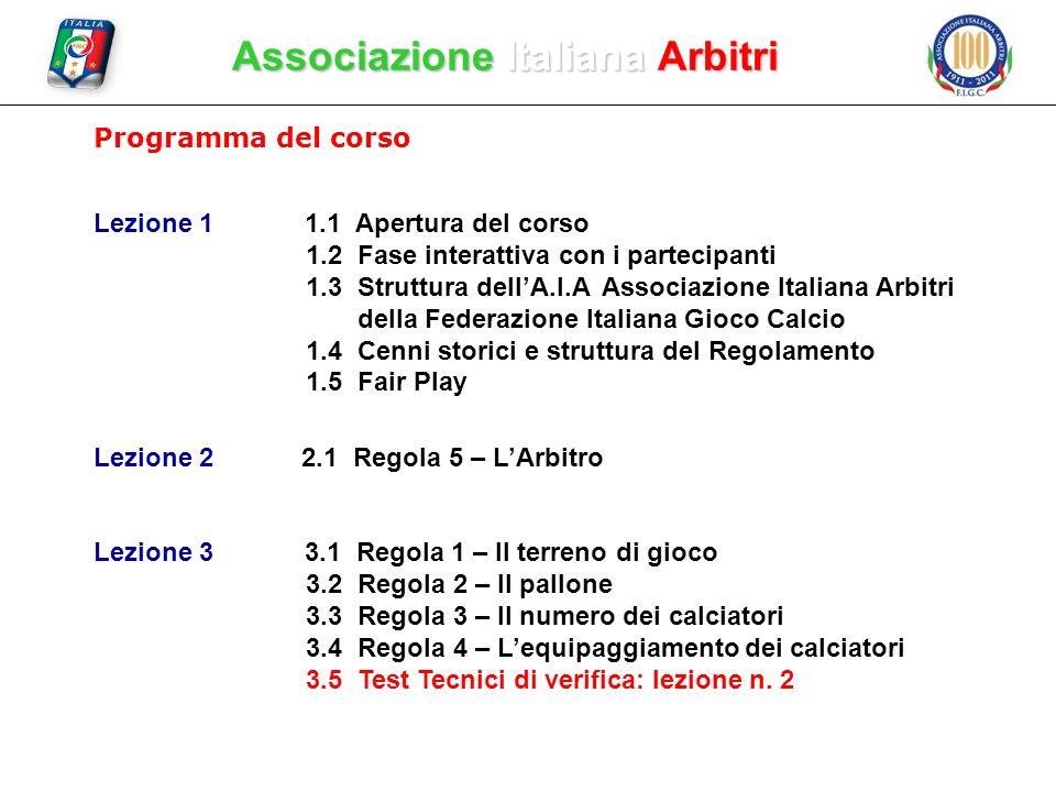 Associazione Italiana Arbitri Programma del corso Lezione 11.1 Apertura del corso 1.2 Fase interattiva con i partecipanti 1.3 Struttura dellA.I.A Asso