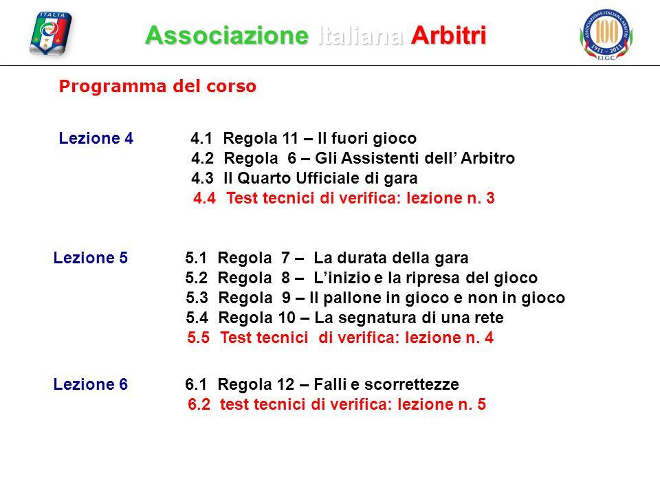 Associazione Italiana Arbitri Programma del corso Lezione 44.1 Regola 11 – Il fuori gioco 4.2 Regola 6 – Gli Assistenti dell Arbitro 4.3 Il Quarto Uff