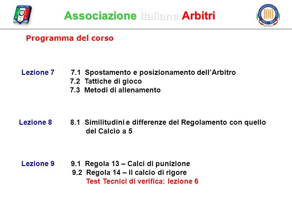 Associazione Italiana Arbitri Programma del corso Lezione 7 7.1 Spostamento e posizionamento dellArbitro 7.2 Tattiche di gioco 7.3 Metodi di allenamen