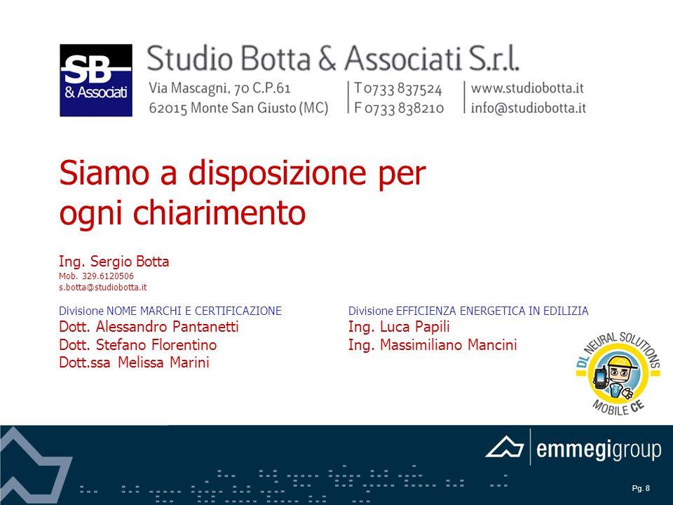 Pg. 8 Siamo a disposizione per ogni chiarimento Ing. Sergio Botta Mob. 329.6120506 s.botta@studiobotta.it Divisione NOME MARCHI E CERTIFICAZIONEDivisi