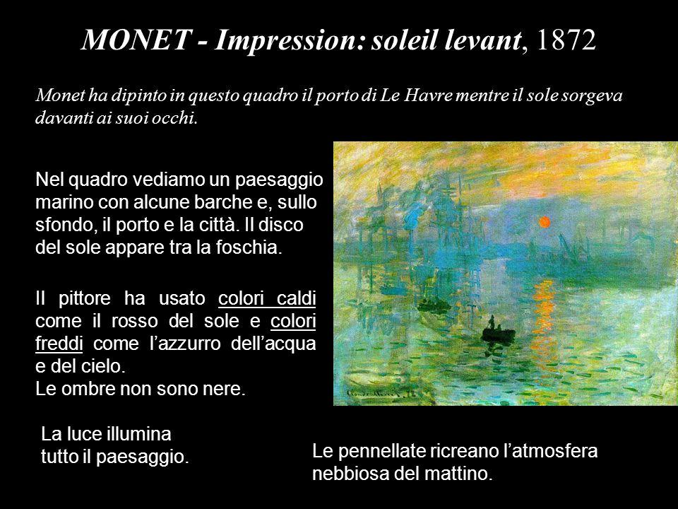 MONET - I papaveri, 1873 La fila degli alberi allorizzonte divide il paesaggio dei prati da quello del cielo.