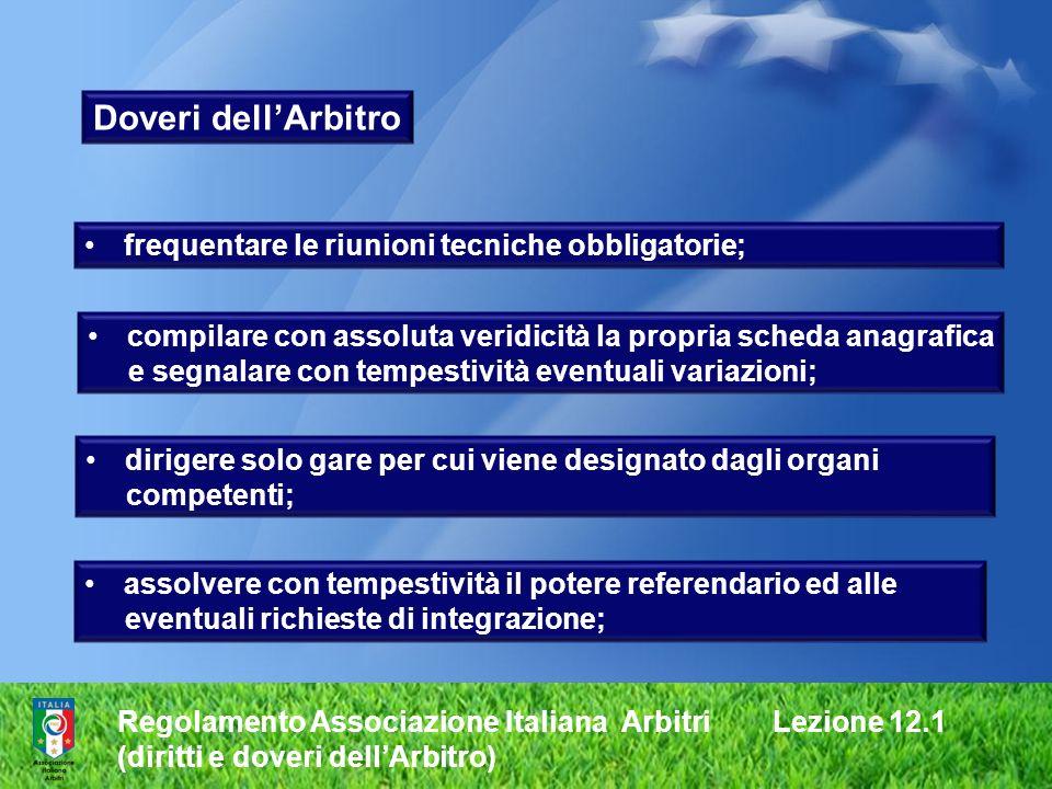 Regolamento Associazione Italiana Arbitri Lezione 12.1 (diritti e doveri dellArbitro) dirigere solo gare per cui viene designato dagli organi competen