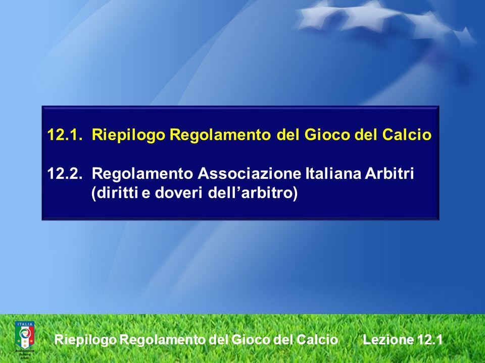 12.1. Riepilogo Regolamento del Gioco del Calcio 12.2. Regolamento Associazione Italiana Arbitri (diritti e doveri dellarbitro) Riepilogo Regolamento