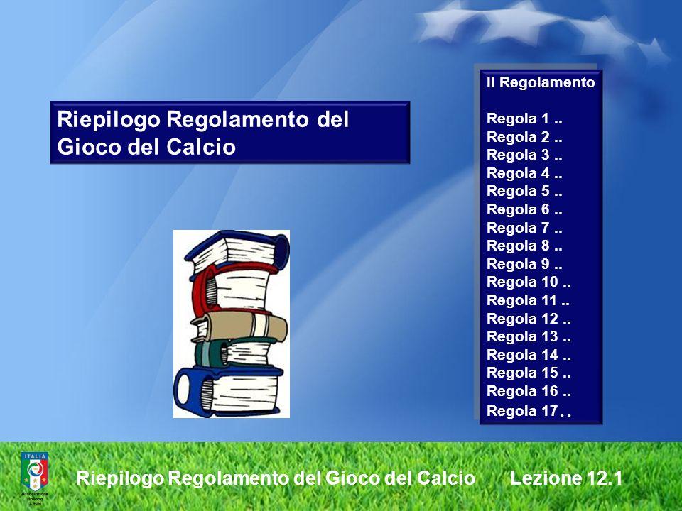 Riepilogo Regolamento del Gioco del Calcio Il Regolamento Regola 1.. Regola 2.. Regola 3.. Regola 4.. Regola 5.. Regola 6.. Regola 7.. Regola 8.. Rego