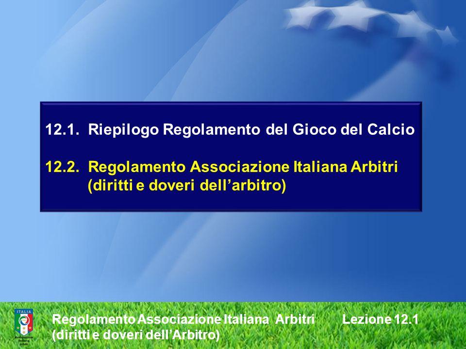 12.1. Riepilogo Regolamento del Gioco del Calcio 12.2. Regolamento Associazione Italiana Arbitri (diritti e doveri dellarbitro) Regolamento Associazio