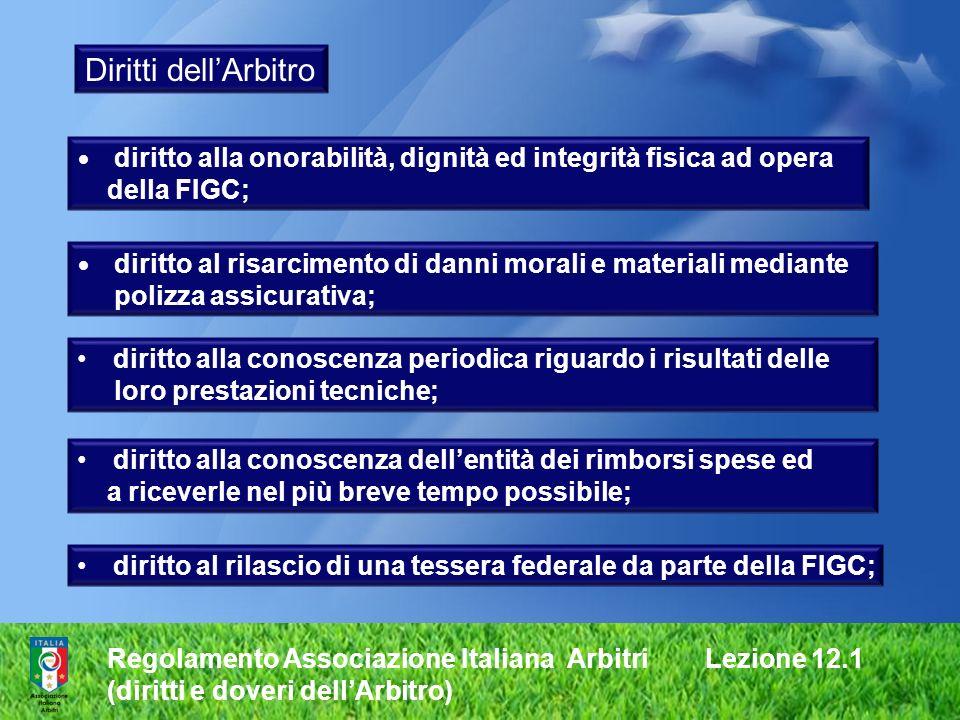 Regolamento Associazione Italiana Arbitri Lezione 12.1 (diritti e doveri dellArbitro) Diritti dellArbitro diritto alla conoscenza periodica riguardo i