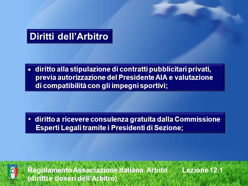 Regolamento Associazione Italiana Arbitri Lezione 12.1 (diritti e doveri dellArbitro) diritto alla stipulazione di contratti pubblicitari privati, pre