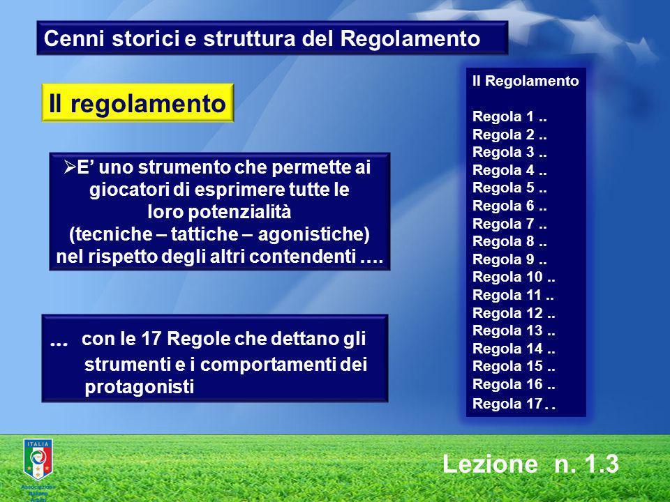 Lezione n. 1.3 Cenni storici e struttura del Regolamento E uno strumento che permette ai giocatori di esprimere tutte le loro potenzialità (tecniche –