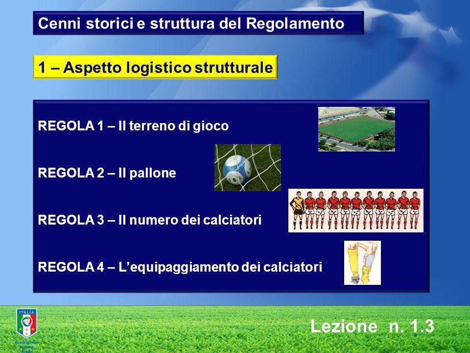 Lezione n. 1.3 REGOLA 1 – Il terreno di gioco REGOLA 2 – Il pallone REGOLA 3 – Il numero dei calciatori REGOLA 4 – Lequipaggiamento dei calciatori 1 –