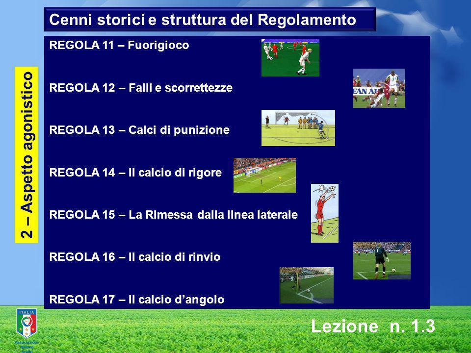 Lezione n. 1.3 2 – Aspetto agonistico REGOLA 11 – Fuorigioco REGOLA 12 – Falli e scorrettezze REGOLA 13 – Calci di punizione REGOLA 14 – Il calcio di