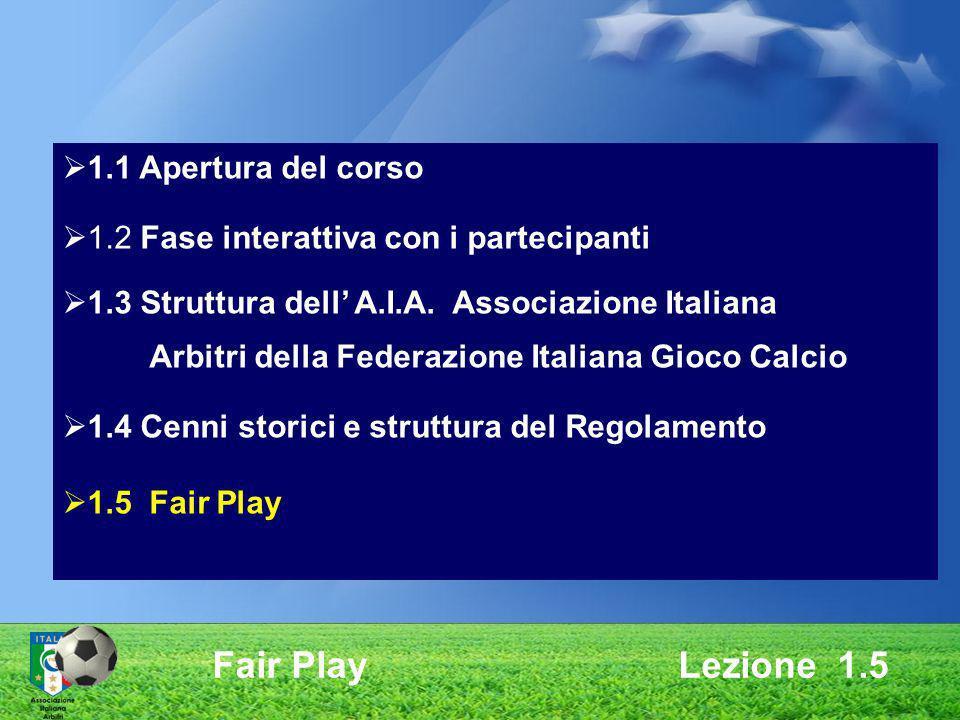 1.1 Apertura del corso 1.2 Fase interattiva con i partecipanti 1.3 Struttura dell A.I.A. Associazione Italiana Arbitri della Federazione Italiana Gioc