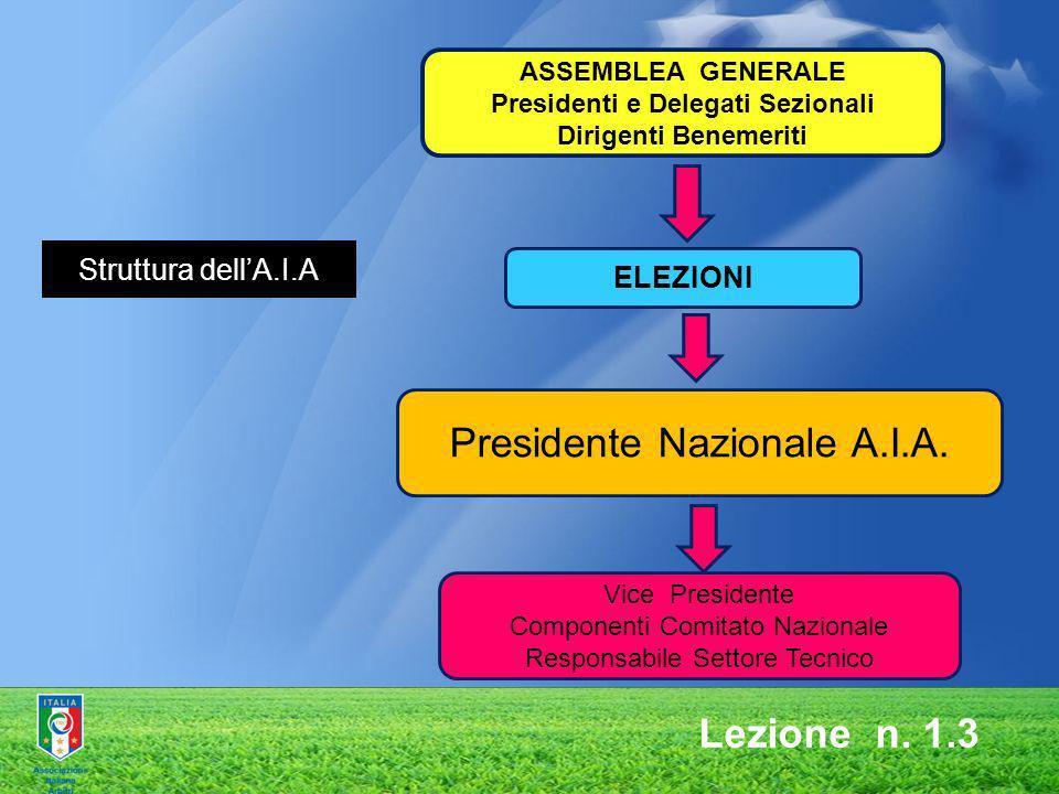 ASSEMBLEA GENERALE Presidenti e Delegati Sezionali Dirigenti Benemeriti ELEZIONI Presidente Nazionale A.I.A. Vice Presidente Componenti Comitato Nazio