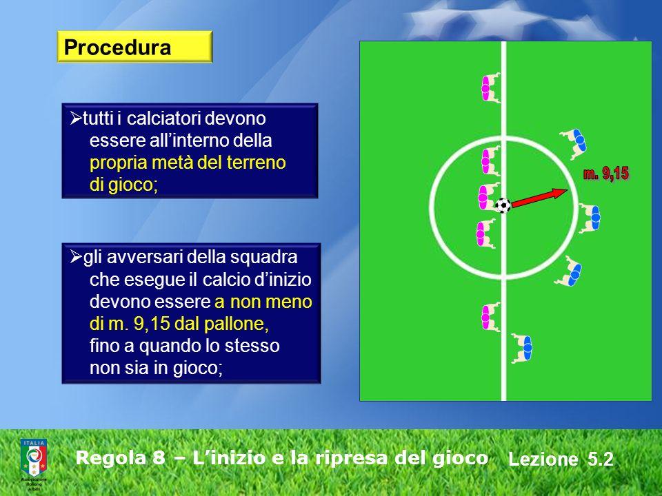 Lezione 5.2 Regola 8 – Linizio e la ripresa del gioco Procedura gli avversari della squadra che esegue il calcio dinizio devono essere a non meno di m