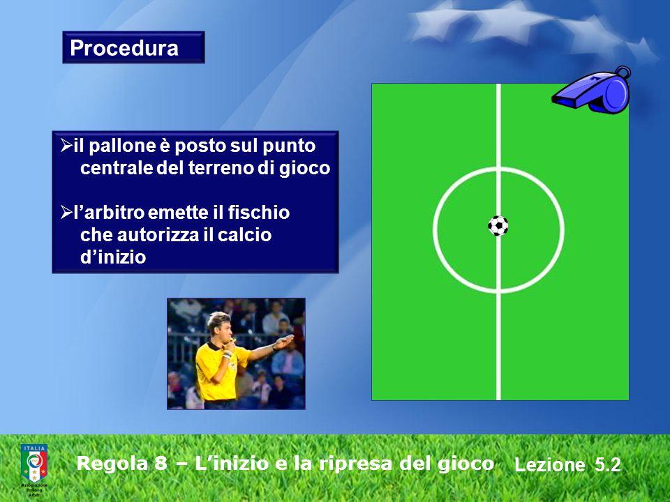 Lezione 5.2 Regola 8 – Linizio e la ripresa del gioco Procedura il pallone è posto sul punto centrale del terreno di gioco larbitro emette il fischio