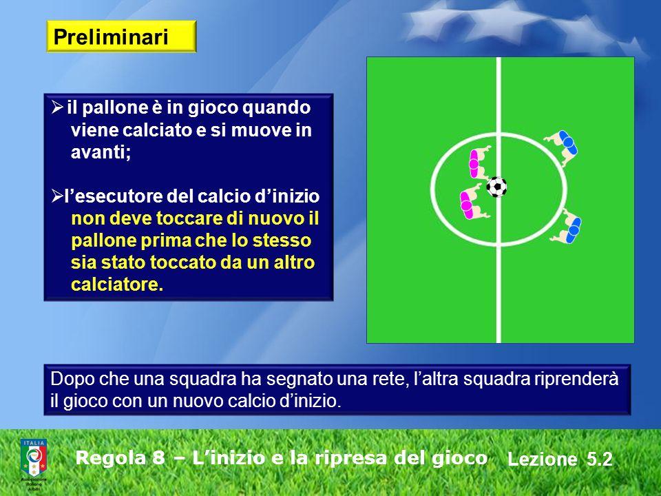 Lezione 5.2 Regola 8 – Linizio e la ripresa del gioco Preliminari il pallone è in gioco quando viene calciato e si muove in avanti; lesecutore del cal