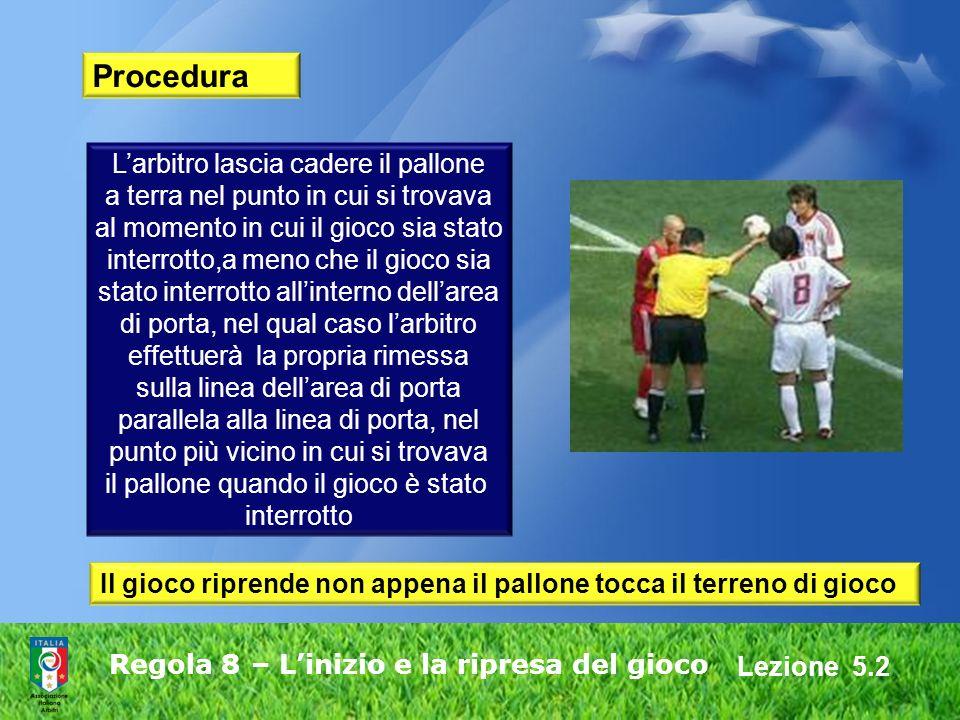 Lezione 5.2 Regola 8 – Linizio e la ripresa del gioco Procedura Larbitro lascia cadere il pallone a terra nel punto in cui si trovava al momento in cu