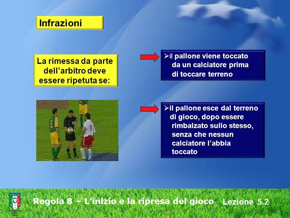Lezione 5.2 Regola 8 – Linizio e la ripresa del gioco Infrazioni La rimessa da parte dellarbitro deve essere ripetuta se: il pallone esce dal terreno