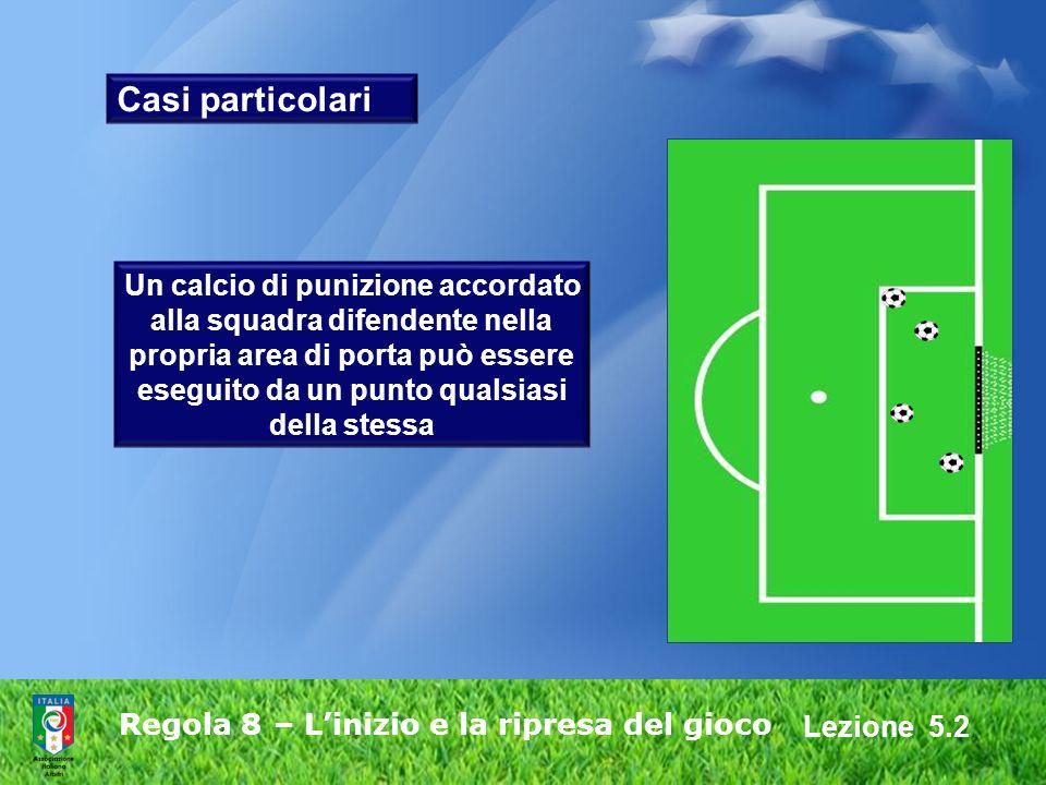 Lezione 5.2 Regola 8 – Linizio e la ripresa del gioco Casi particolari Un calcio di punizione accordato alla squadra difendente nella propria area di