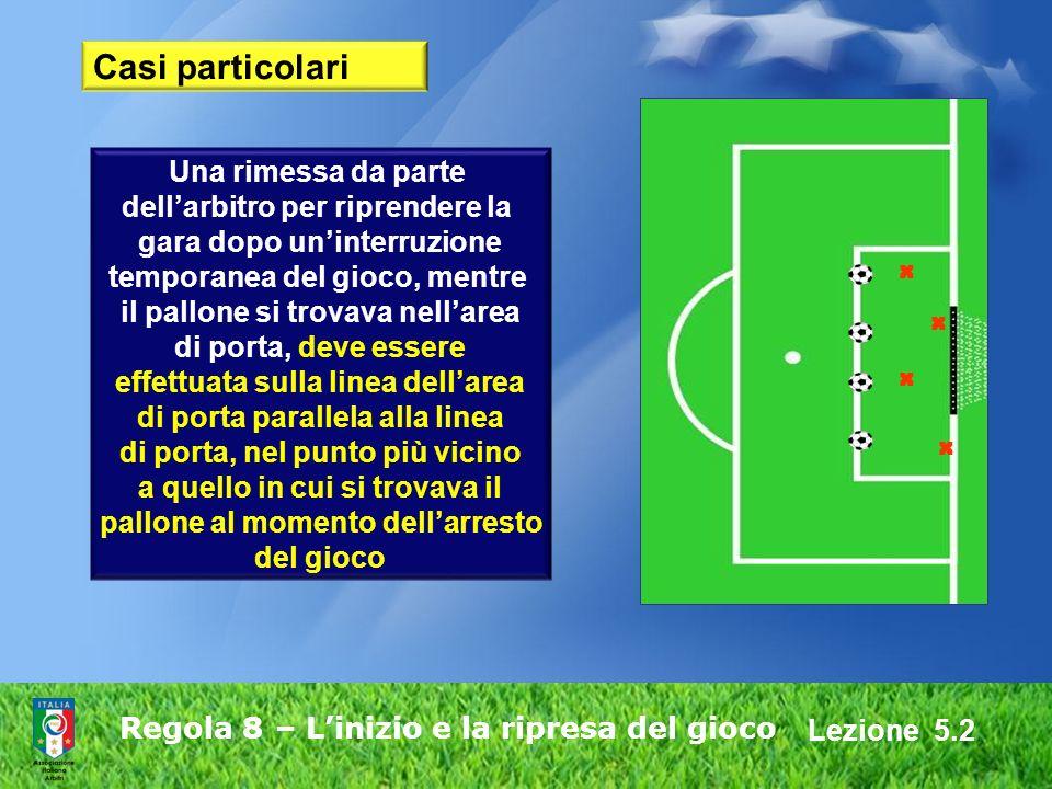 Lezione 5.2 Regola 8 – Linizio e la ripresa del gioco Una rimessa da parte dellarbitro per riprendere la gara dopo uninterruzione temporanea del gioco
