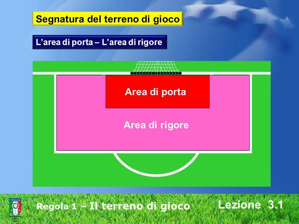 Regola 1 – Il terreno di gioco Lezione 3.1 Area di porta Area di rigore Larea di porta – Larea di rigore Segnatura del terreno di gioco