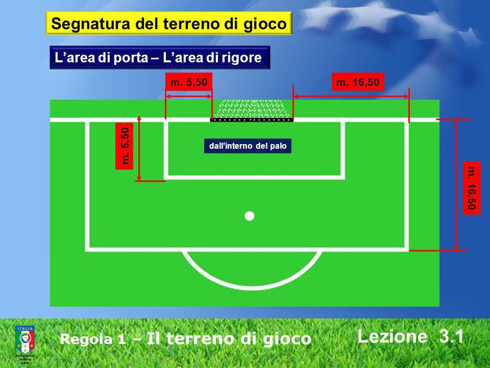 Regola 1 – Il terreno di gioco Lezione 3.1 m. 5,50m. 16,50 m. 5,50 m. 16,50 dallinterno del palo Larea di porta – Larea di rigore Segnatura del terren