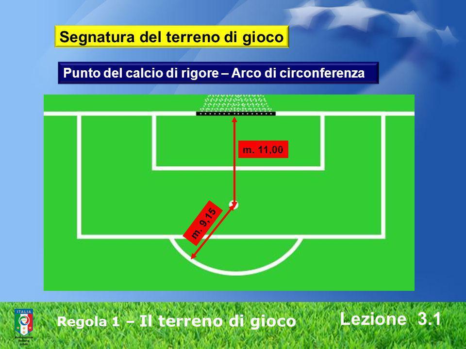 Regola 1 – Il terreno di gioco Lezione 3.1 m. 11,00 m. 9,15 Punto del calcio di rigore – Arco di circonferenza Segnatura del terreno di gioco