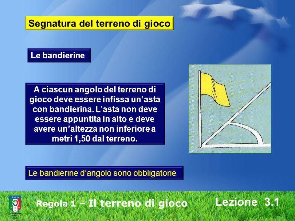 Regola 1 – Il terreno di gioco Lezione 3.1 A ciascun angolo del terreno di gioco deve essere infissa unasta con bandierina. Lasta non deve essere appu