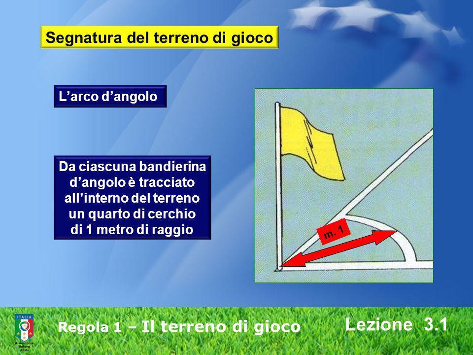 Regola 1 – Il terreno di gioco Lezione 3.1 Da ciascuna bandierina dangolo è tracciato allinterno del terreno un quarto di cerchio di 1 metro di raggio
