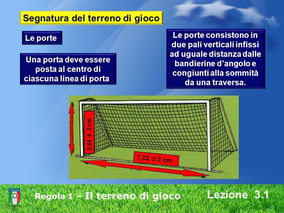 Regola 1 – Il terreno di gioco Lezione 3.1 Una porta deve essere posta al centro di ciascuna linea di porta. Le porte consistono in due pali verticali