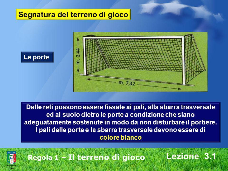 Regola 1 – Il terreno di gioco Lezione 3.1 Delle reti possono essere fissate ai pali, alla sbarra trasversale ed al suolo dietro le porte a condizione