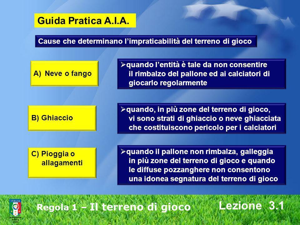 Regola 1 – Il terreno di gioco Lezione 3.1 Guida Pratica A.I.A. Cause che determinano limpraticabilità del terreno di gioco A)Neve o fango quando lent