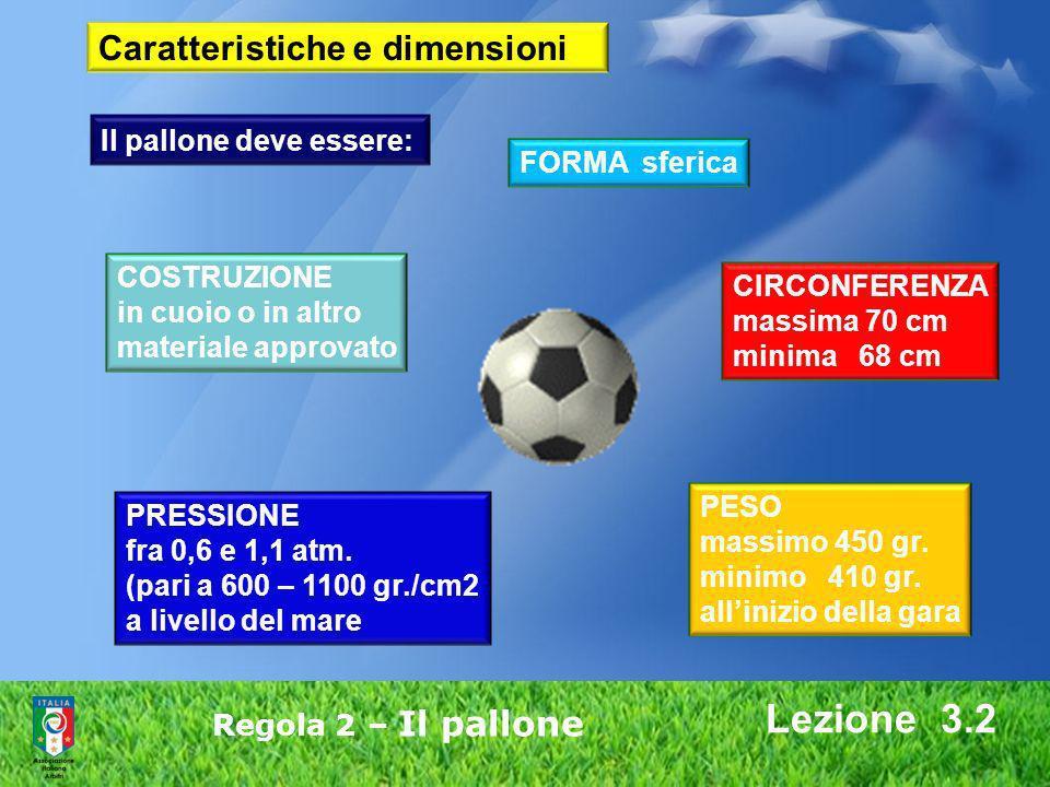 Lezione 3.2 Regola 2 – Il pallone Caratteristiche e dimensioni Il pallone deve essere: FORMA sferica COSTRUZIONE in cuoio o in altro materiale approva