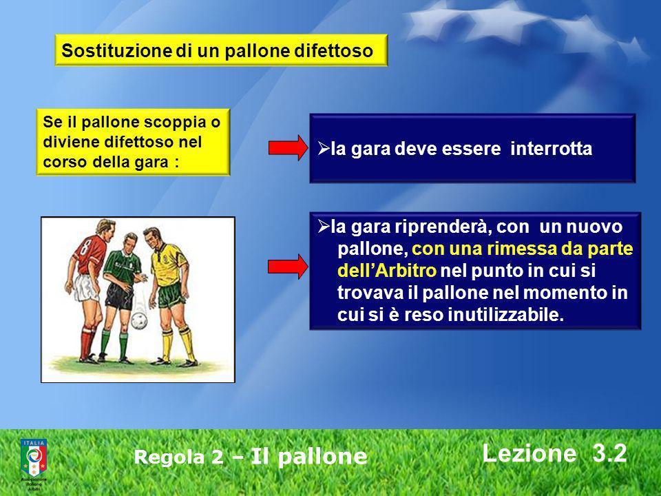 Lezione 3.2 Regola 2 – Il pallone Se il pallone scoppia o diviene difettoso nel corso della gara : la gara riprenderà, con un nuovo pallone, con una r