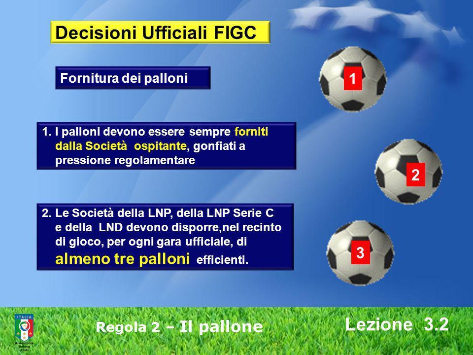 Lezione 3.2 Regola 2 – Il pallone Decisioni Ufficiali FIGC 1. I palloni devono essere sempre forniti dalla Società ospitante, gonfiati a pressione reg