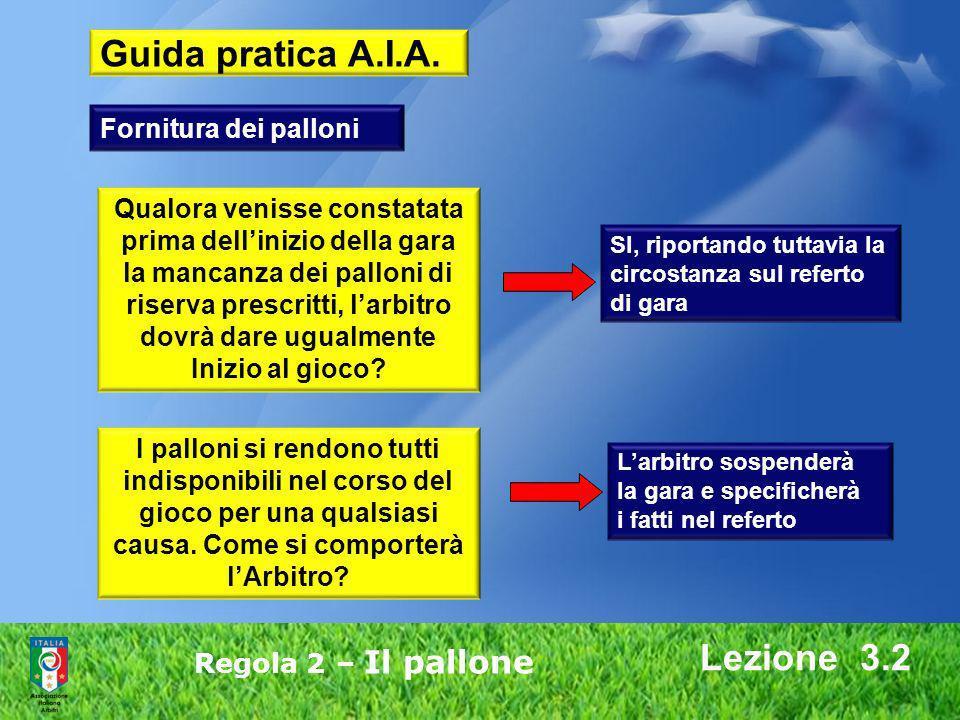 Lezione 3.2 Regola 2 – Il pallone I palloni si rendono tutti indisponibili nel corso del gioco per una qualsiasi causa. Come si comporterà lArbitro? Q