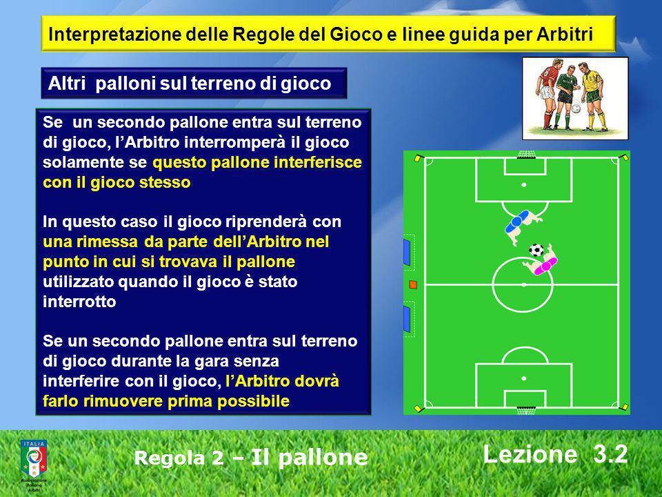 Lezione 3.2 Regola 2 – Il pallone Interpretazione delle Regole del Gioco e linee guida per Arbitri Se un secondo pallone entra sul terreno di gioco, l