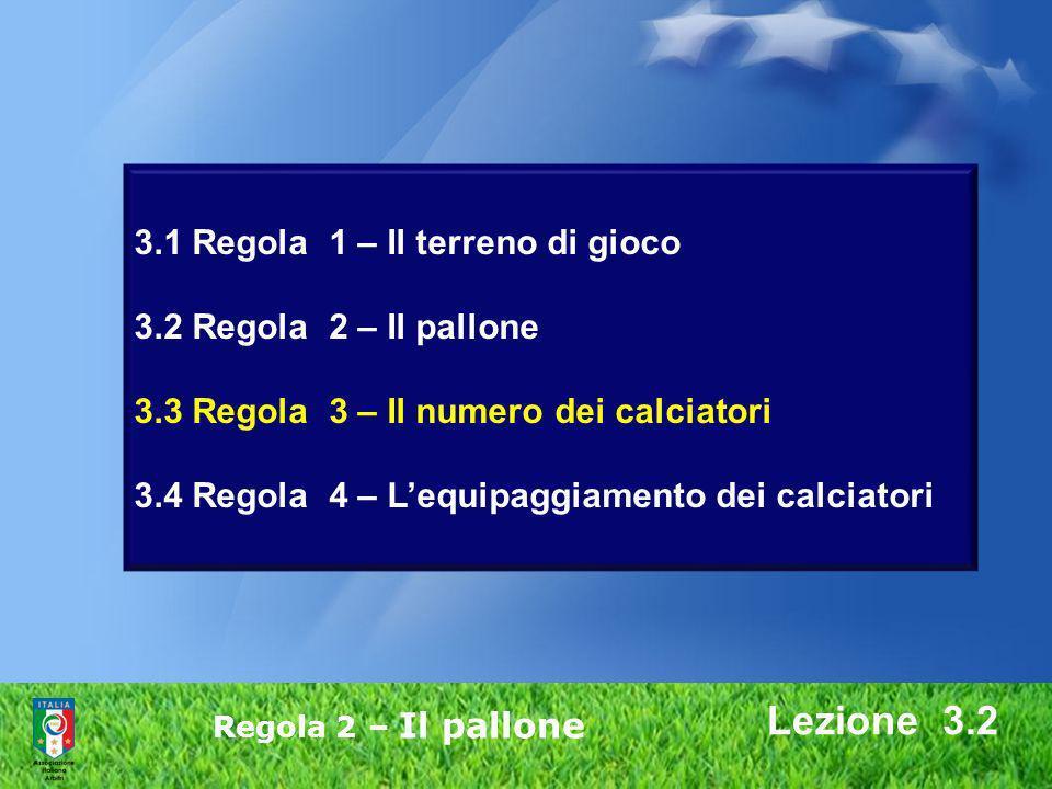 Lezione 3.2 Regola 2 – Il pallone 3.1 Regola 1 – Il terreno di gioco 3.2 Regola 2 – Il pallone 3.3 Regola 3 – Il numero dei calciatori 3.4 Regola 4 –