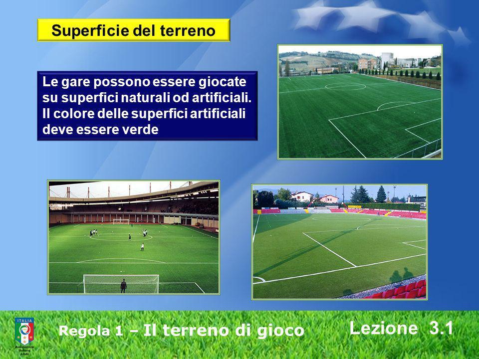 Regola 1 – Il terreno di gioco Lezione 3.1 Le gare possono essere giocate su superfici naturali od artificiali. Il colore delle superfici artificiali