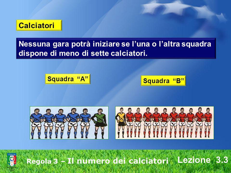 Lezione 3.3 Regola 3 – Il numero dei calciatori Nessuna gara potrà iniziare se luna o laltra squadra dispone di meno di sette calciatori. Squadra A Sq