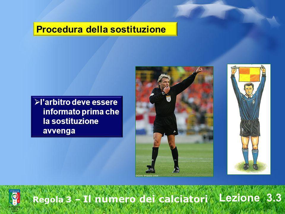 Lezione 3.3 Regola 3 – Il numero dei calciatori larbitro deve essere informato prima che la sostituzione avvenga Procedura della sostituzione