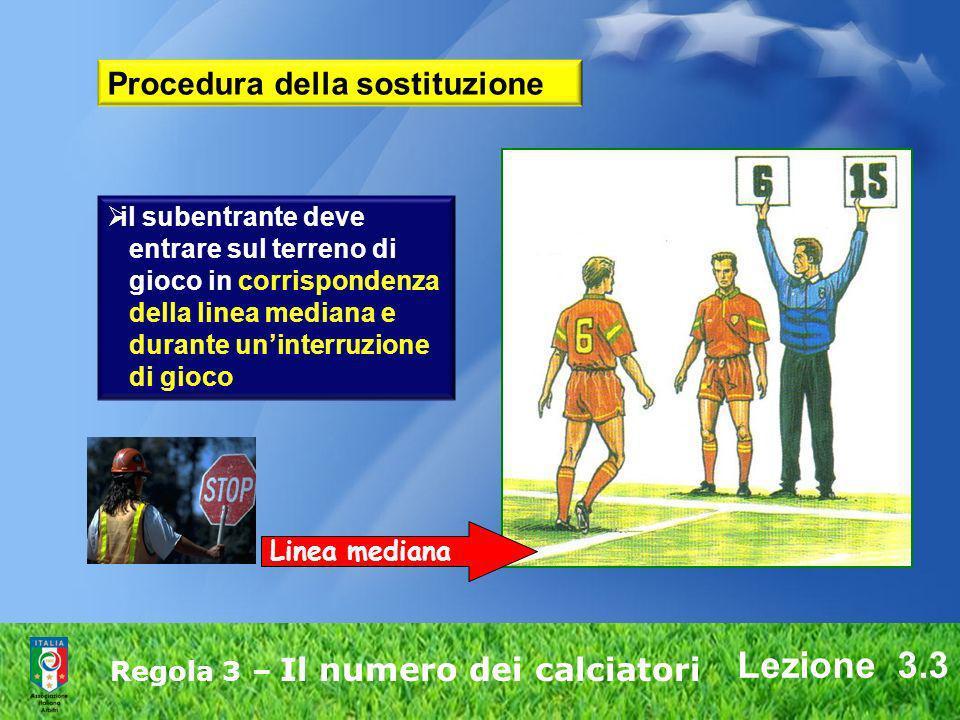 Lezione 3.3 Regola 3 – Il numero dei calciatori il subentrante deve entrare sul terreno di gioco in corrispondenza della linea mediana e durante unint