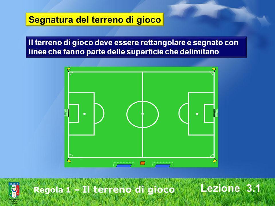 Regola 1 – Il terreno di gioco Lezione 3.1 Segnatura del terreno di gioco Il terreno di gioco deve essere rettangolare e segnato con linee che fanno p