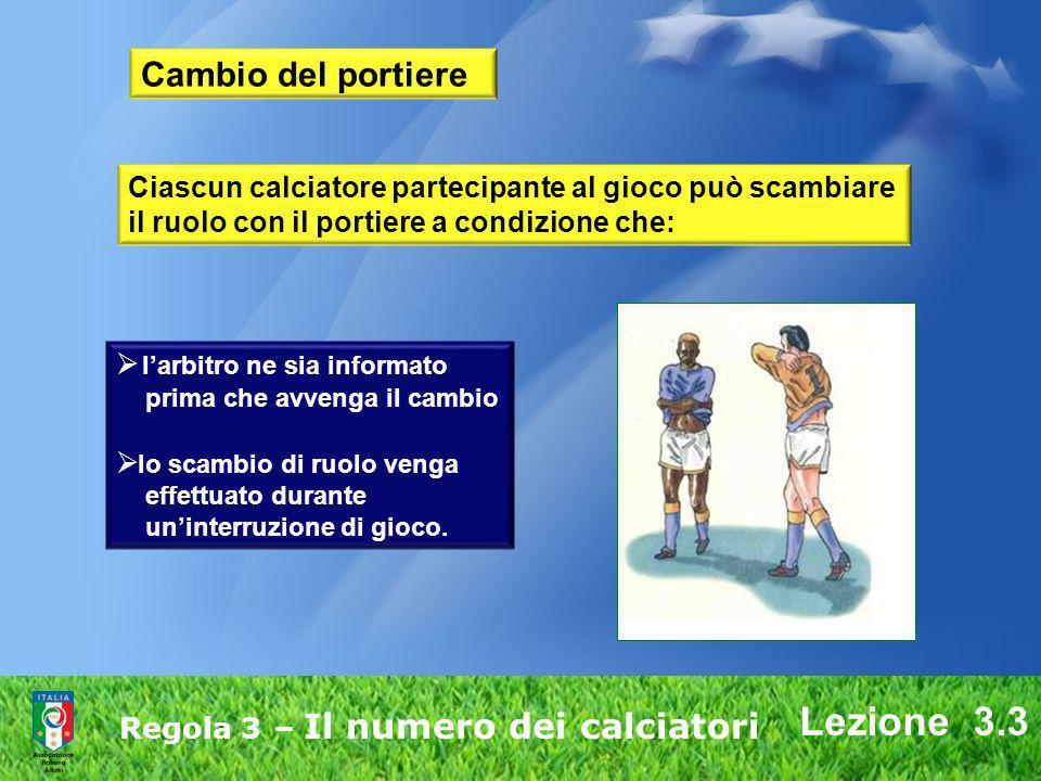 Lezione 3.3 Regola 3 – Il numero dei calciatori Cambio del portiere Ciascun calciatore partecipante al gioco può scambiare il ruolo con il portiere a