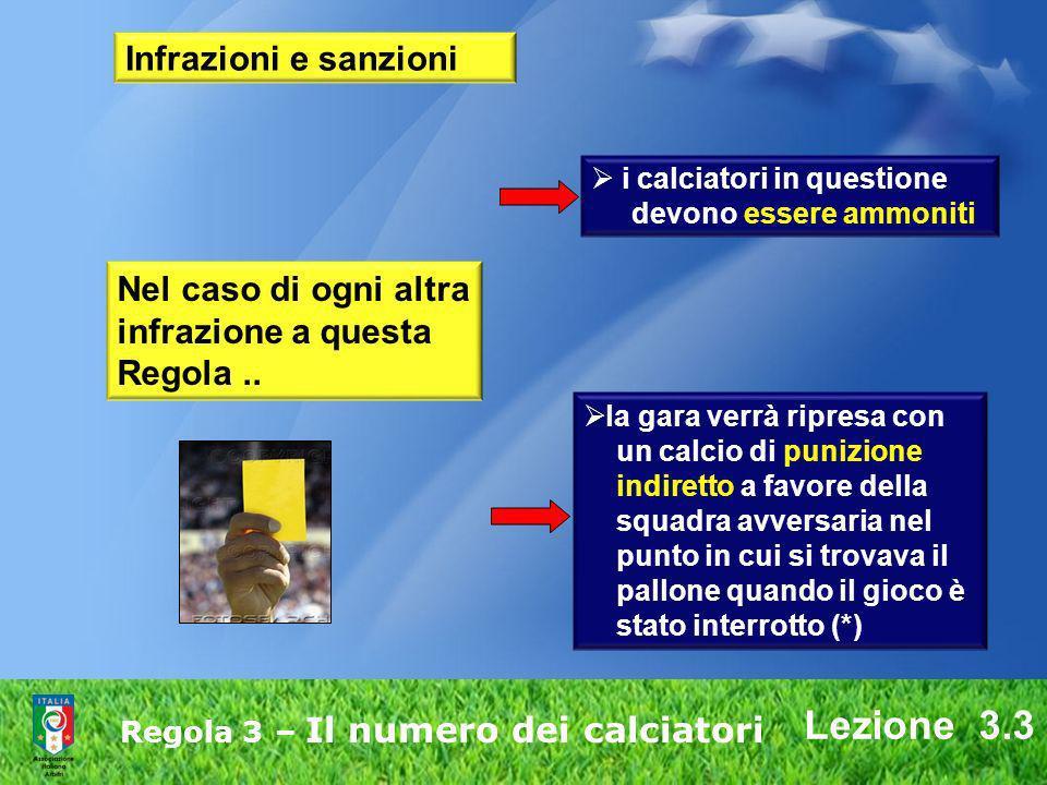 Lezione 3.3 Regola 3 – Il numero dei calciatori Infrazioni e sanzioni Nel caso di ogni altra infrazione a questa Regola.. la gara verrà ripresa con un