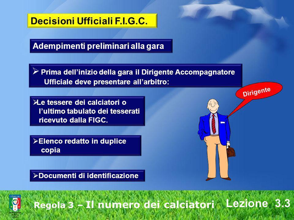Lezione 3.3 Regola 3 – Il numero dei calciatori Prima dellinizio della gara il Dirigente Accompagnatore Ufficiale deve presentare allarbitro: Le tesse