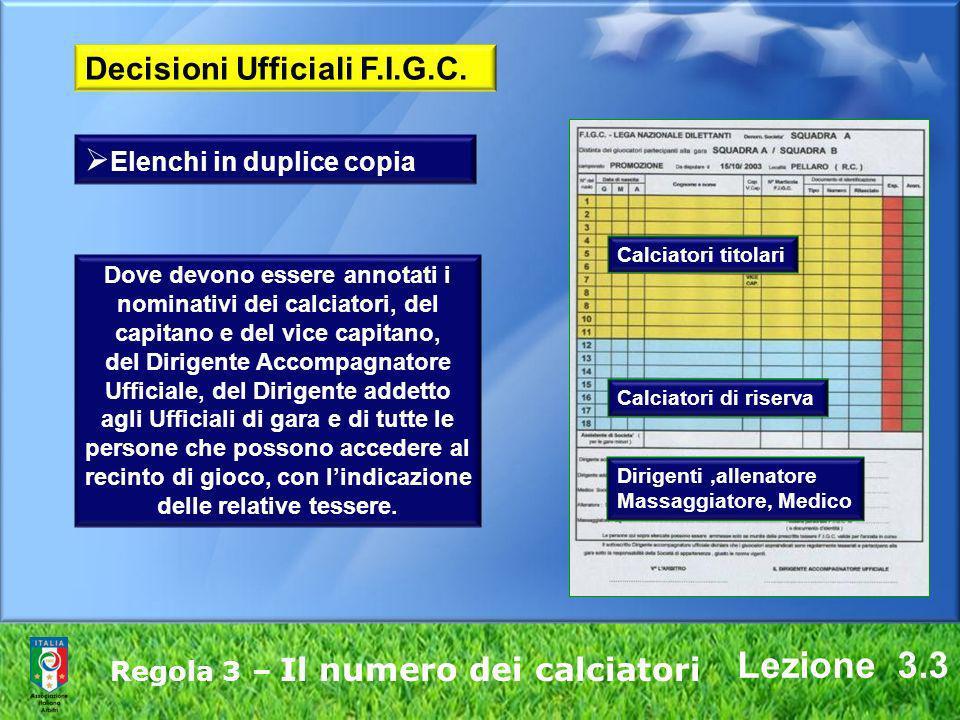 Lezione 3.3 Regola 3 – Il numero dei calciatori Dove devono essere annotati i nominativi dei calciatori, del capitano e del vice capitano, del Dirigen