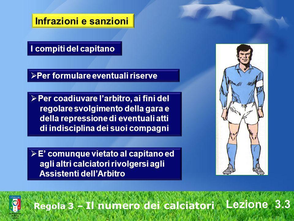 Lezione 3.3 Regola 3 – Il numero dei calciatori Infrazioni e sanzioni Per formulare eventuali riserve Per coadiuvare larbitro, ai fini del regolare sv