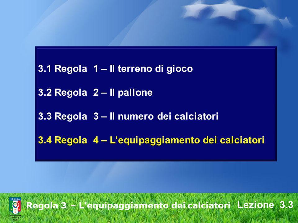 3.1 Regola 1 – Il terreno di gioco 3.2 Regola 2 – Il pallone 3.3 Regola 3 – Il numero dei calciatori 3.4 Regola 4 – Lequipaggiamento dei calciatori Re