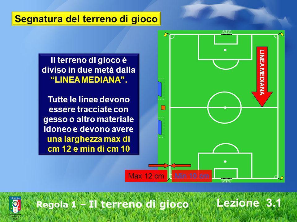 Regola 1 – Il terreno di gioco Lezione 3.1 Il terreno di gioco è diviso in due metà dalla LINEA MEDIANA. Tutte le linee devono essere tracciate con ge